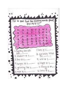 4th Grade Just for Fun Figurative Language Word Searches