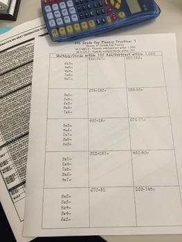 4th Grade Key Fluency Practice
