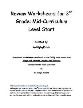 4th Grade Kodaly Music Review Worksheets (for mid-3rd Grad