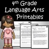 4th Grade Language Arts, ELA, Reading Printables Google Classroom All Standards