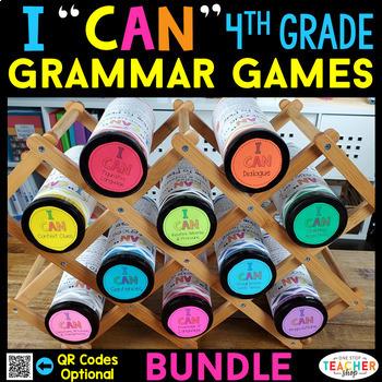 4th Grade Language Arts BUNDLE   Spiral Review, Games & Quizzes   ENTIRE YEAR