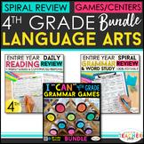 4th Grade Language Arts BUNDLE | Spiral Review, Games & Qu