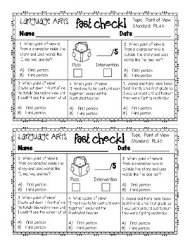 4th Grade Language Arts Common Core Fast Check Assessment Pack
