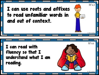 4th Grade Language Arts I Can Statement Cards (aligned to CCSS)