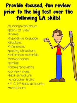 4th Grade Language Arts Test Prep SCOOT aligned to AIR