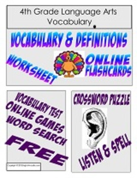 4th Grade Language Arts Vocabulary Pack
