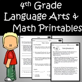 4th Grade Language Arts and Math Printables Bundle - Use for the Entire Year