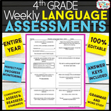 4th Grade Language Assessments | 4th Grade Grammar Quizzes EDITABLE