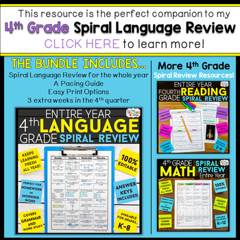 4th Grade Language Assessments | 2 Weeks FREE