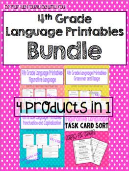 4th Grade Language Printables Bundle