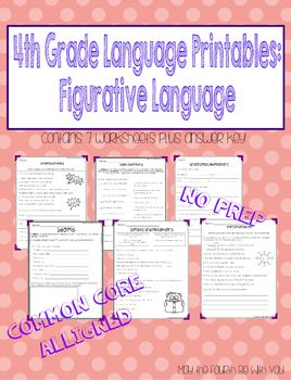 4th Grade Language Printables: Figurative Language