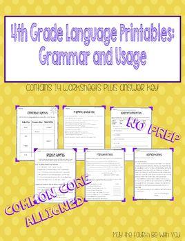 4th Grade Language Printables: Grammar and Usage