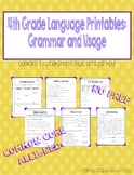 4th Grade Language Printables: Grammar and Usage