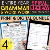 4th Grade Language Spiral Review & Quizzes   DIGITAL & PRI
