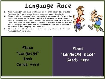 4th Grade Language Task Cards and Game