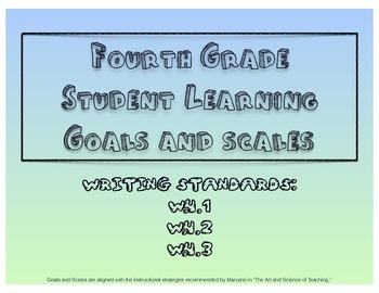 4th Grade Writing Learning Goals and Scales - No Prep!
