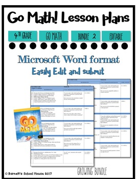 Lesson Plan Bundle 4th Grade {2nd 6 Weeks Editable} Go Math! CC