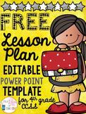 EDITABLE Lesson Plan Template for 4th Grade Common Core