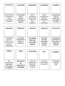 4th Grade Life Science Vocabulary