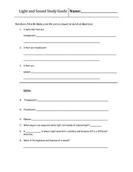 4th Grade Light and Sound Study Guide