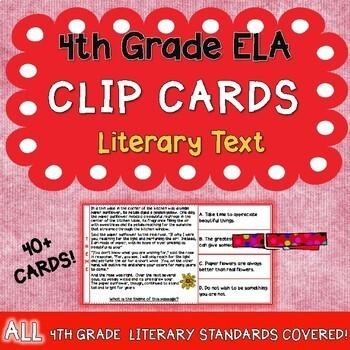 4th Grade Reading Literature Clip Cards!