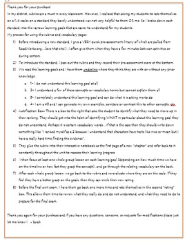 4th Grade Literature Rubrics and Learning Goals- Florida