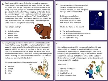 4th Grade Literature Task Cards and Game