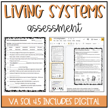4th Grade Living Systems Assessment