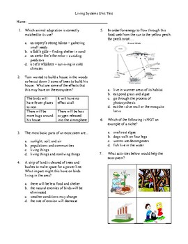 4th Grade Living Systems Unit Test