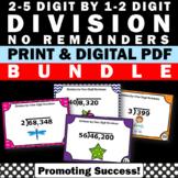 Long Division Task Cards Practice BUNDLE 4th Grade Math Review Digital Printable