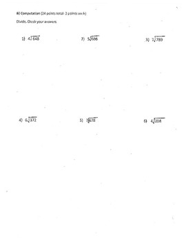 4th Grade Long Division Test