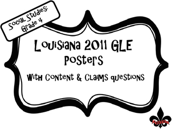 4th Grade Louisiana GLE Posters for Social Studies Black and White