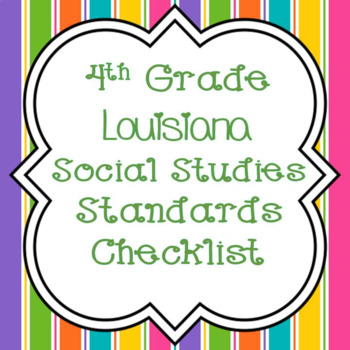 4th Grade Louisiana Social Studies Standards Checklist