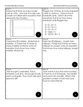 4th Grade MAFS Review Task Cards