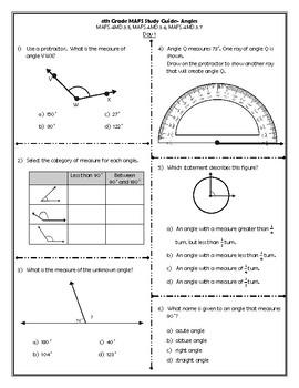 4th Grade MAFS Study Guide- Angles