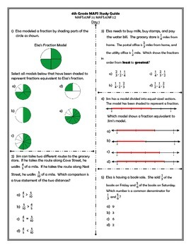 4th Grade MAFS Study Guide-  Fraction Equivalence and Ordering