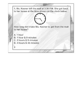 4th Grade MATH ActivInspire 5 question Assessment Elapsed Time 4.MD.A.1, 2