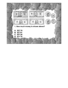 4th Grade ActivInspire 5 question Assessment Money/Decimal