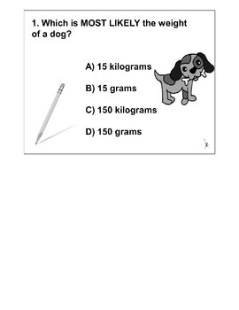 4th Grade MATH ActivInspire 5 question Assessment Weight 4.MD.A.1,2