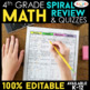 4th Grade MATH BUNDLE | Spiral Review, Games & Quizzes | ENTIRE YEAR