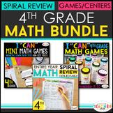 4th Grade MATH BUNDLE | Games, Spiral Review, & Weekly Qui