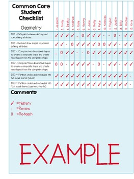 {4th Grade} MATH Common Core Data Checklist