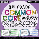 4th Grade MATH EDITABLE Essential Questions & Learning Goals
