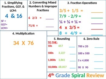 4th Grade MATH Common Core Spiral Review 3