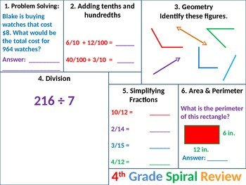4th Grade MATH Common Core Spiral Review 4