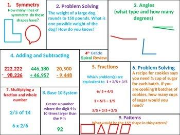 4th Grade MATH Common Core Spiral Review 5