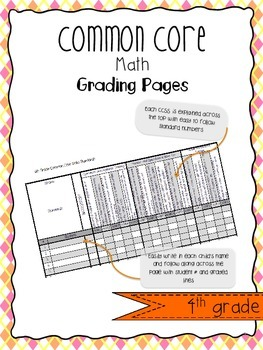 4th Grade MATH Common Core State Standards Report Card Record Sheet