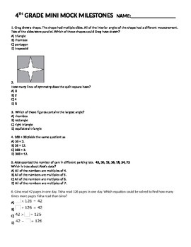 4th Grade MATH Mini Mock Milestones End of Year Assessment/Pre-Test Common Core