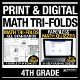 4th Grade MATH Quizzes PRINT & DIGITAL Bundle Distance Lea