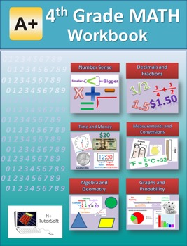 """A+ Math"" 4th Grade Math Workbook (Worksheets, Exams and A"